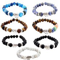 8MM Kimter Mens Womens 7 Chakra Pulseira Cool Colorful Matte Agate Gems Beads Stretch Yoga Pulseira Presente de Natal 7 Styles B335S