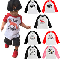 Wholesale Drop Shipping Wholesalers Baby Clothing - 27 Patterns Kids T Shirts Fashion Unisex Baby Clothes Raglan Printed Long Sleeve T Shirts#170220-1 Drop Shipping