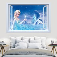 Wholesale Mural Princess - Syene Frozen Movie princess Elsa Anna cartoon charactor window wall sticker DIY art vinyl wall stickers decor mural decal removable kids