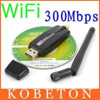 Wholesale Desktop Windows - Wholesale- 300 Mbps Wireless Adapter USB 2.0 WiFi 2.4G Network Lan Card With Antenna Realtek 8191 for windows XP Vista 7 8 Linux MAC