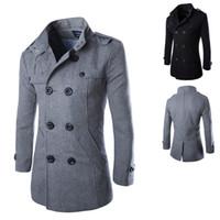 Wholesale Casual Pea Coats For Men - Wholesale- 2016 New Men Casual Jacket Wool Coat Trench Coat Men Slim Fit Overcoat For Men Pea Coat Down & Parkas Plus Size:M-XXXL