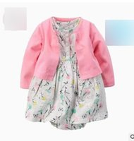 Wholesale Dot Dress Black Baby - Baby girls outfits Infants floral printed polka-dots Ha-dress+single-breasted pure color outwear 2pcs sets For 0-2T kids clothing set G1391