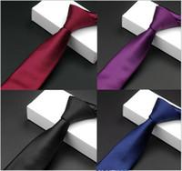 direkte krawatte großhandel-Krawatte Korean Fashion Persönlichkeit Reine Farbe Reihe von monochromatischen Weinrot Schwarz 5,5 CM Schmale Spot Direct Supply Krawatten