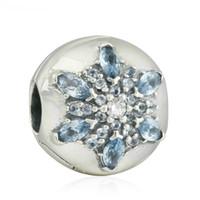Wholesale Sterling Silver Snowflake Bead - Snowflake clip beads authentic S925 sterling silver beads fits pandora Jewelry bracelets free shipping aleCH621