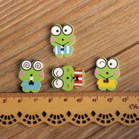 Wholesale Buttons Sewing 22mm - 100pcs Cartoon Wooden Button 22mm*18mm Scrapbooking Buttons Mixed DIY 2-Holes Buttons Sewing Accessories Decorative Buttons