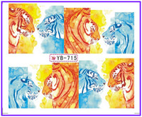 Wholesale Tiger Water Decal Nail - Wholesale- Nail Sticker Full Cover LEOPARD TIGER PANTHER SNAKE SKIN Water Transfers Stickers Nail Decals YB715-720