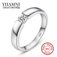 отправить кольцо оптовых-Отправленный серебряный сертификат! YHAMNI Real Original Серебряное кольцо из серебра 925 серебряных ювелирных изделий Inlay 5 мм Обручальное кольцо для бриллиантов для мужчин LD10