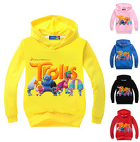 Wholesale Children Hoodies Sweat - Newest Multicolor Cartoon Trolls Children Hoodie Long Sleeved T-Shirt Baby Boys Girls Cotton T Shirt Kids Tops Sports Tees Sweat