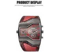 Wholesale Oulm Double - Oulm Top Luxury Brand Men Quartz Watches Double Time Show Snake Band Casual Male Sports Watches Clock Hours relogio masculino