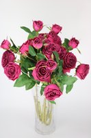 Wholesale 3 Head rose artificial fake flowers real touch PU rose perfect for home wedding party decoraton