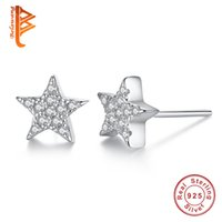 Wholesale Star Stud Earrings Silver Crystal - BELAWANG Clear Cubic Zirconia Crystal Wishing Star Shape Earrings 925 Sterling Silver Stud Earring for Women Ladies Fashion Jewelry Wholesa