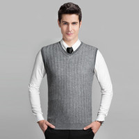 Wholesale Knit Cable Sweater - Wholesale- 2016 Latest Style Fashion Grey V neck Sleeveless Knitting Pattern Mens Cable Sweater Vest