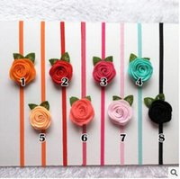 Wholesale Blended Hair Weave - New non-woven three-dimensional roses with leaves children baby baby hair band