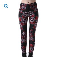 Wholesale Plus Size Leggings Wholesalers - Wholesale- Qoujeily Women's Printed Leggings 3D Flower Digital Skull Print Legging Plus Size Jeggings S-4XL