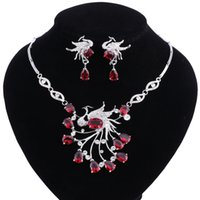 Red Stone White Crystal Jewelry Set Phoenix Wedding Necklace Cadena Fine Earrings Silver Color Jewelry Sets