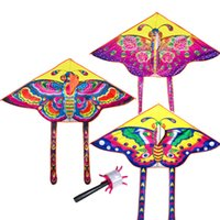 Wholesale Kite Stunt - Wholesale- 90*55cm Nylon Rainbow Butterfly Kite Outdoor Foldable Children's Kite Stunt Kite Surf with 60M Control Bar and Line Random Color