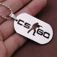 Wholesale Game Counters - 2016 New Stainless Steel CSGO Dog Tag Collier Jewelry Game Theme Cs Go Cs Go Necklace Counter Strike Name Tag Pendant Neckless