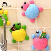 Wholesale Cute Wholesale Bathroom Accessories - Wholesale- FHEAL Cute Turtle Sucker Hook Toothbrush Holder Cartoon Tortoise Bathroom Accessories