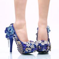 ingrosso i pattini di cerimonia nuziale del rhinestone blu-Royal Blue Flower Tassel Cinderella Shoes Beading Strass fatto a mano da sposa damigella cerimonia nuziale scarpe Prom Sera tacchi alti 161