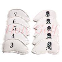 Wholesale Iron Headcovers - Free shipping 10Pcs Set New White skull pu Golf Club Iron Head Cover Headcovers