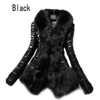 Wholesale thick leather jackets - Hot Luxury Women's Faux Fur Coat Leather Outerwear Snowsuit Long Sleeve Jacket Black Fashion Free Shipping