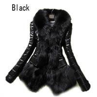 siyah uzun deri ceket toptan satış-Sıcak Lüks kadın Faux Kürk Deri Giyim Snowsuit Uzun Kollu Ceket Siyah Moda Ücretsiz Kargo