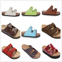 Wholesale Flat Ivory Sandals - New Style Famous Brand Arizona Men's Flat Heel Sandals Women Classcis Summer Casual Shoes Double Buckle Top Quality Genuine Leather Slippers