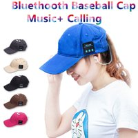 Wholesale Sports Cap Low Price - 100pcs lowest price outdoor sports baseball cap headset sun hat cap with retail package bluetooth music + calling Multifunction cap