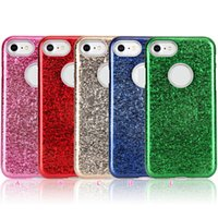 Barato Anéis De Plástico-Ice Crack Bling Glitter Sparkle Soft TPU + Hard Case para Iphone 7 Plus 2in1 Hybrid Plastic Ring Defender Armor Robot Shimmering Cover