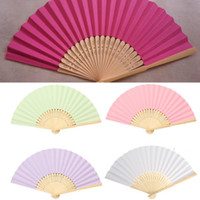 Wholesale Paper Chinese Folding Fans - 1PCS Chinese Style Bamboo Paper Pocket Fan Folding Foldable Hand Held Fans Wedding Party Favor Event Party Supplies