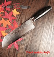 Wholesale Japanese Damascus Kitchen Knives - NEW 7 Inch Santoku Knife 67 Layers Japanese Damascus Stainless Steel Chef Knife VG-10 Core Kitchen Knives Cooking Tools Micarta