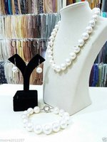 Livraison gratuite Big 14mm round White South Sea Shell Collier de perles Bracelet Boucles d'oreilles Set