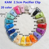 Wholesale Plastic Suspender Pacifier - Wholesale-( 20 color ) DHL 1000pcs 25mm D Shape Kam Plastic Pacifier Dummy Chain Holder Clips Suspender alligator Soother Clips