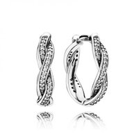 Stud sparkle hoop earrings - Silver Braded Earring Hoops with Clear Cz wedding earrings For Women Sparkling cz