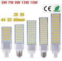 Wholesale Brand New W W W W W E27 G24 G23 socket select LED Corn Bulb Lamp Bombillas Light SMD Spotlight Degree AC85 V