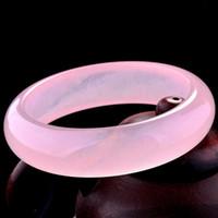 Wholesale Chinese Pink Bracelet - Chinese Beautiful Natural Lavender Pink Jade Gems Bangle Bracelet 60MM