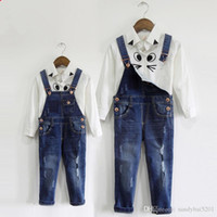 Wholesale 6t Boys Denim Jeans - Mother Daughter Son Jeans Family Outfits Suspender Pants 2017 Kids Girls Boys pants Mom Me Matching Hole Trousers Family Clothes S857