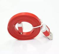 flat noodle cable оптовых-Розничная 1 м Micro V8 лапша плоские данные USB зарядка шнуры зарядное устройство кабельной линии для телефона Android