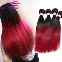 Barato Dois Tecidos Baratos E Virgens-1B Bg Two Tone Colored Straight Cabelo Humano Weave 3 Pcs Lote Malásia Virgem Cabelo Straight Ombre Remy Hair Weave Bundles baratos