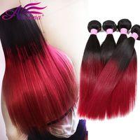 Wholesale Cheap Colored Hair Dye - Malaysian Virgin Hair Straight Cheap Ombre Remy Hair Weave Bundles 1B Bg Two Tone Colored Straight Human Hair Weave 3 Pcs Lot