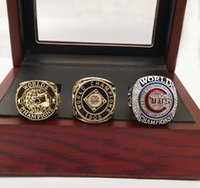 Wholesale Wooden Gift Box Set - 1907 1908 2016 Chicago Cubs Baseball World Championship Rings 3 Pcs set with wooden box Size 6-15