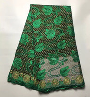 Wholesale Net French Lace - High Quality Nigerian Lace Fabrics With Stones African French Net Lace Fabric Embroidered Tulle Mesh Lace Fabric DH05
