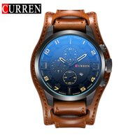 Wholesale Face Steel Straps - 2017 New Watch Curren Brand with Date Display 8225 Leather Strap Quartz Big Face 48mm Men Watches Military Watch Wrist Male Clock