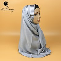 Wholesale Viscose Scarf High Quality - [OCHUANG] High quality plain solid color scarf women shawls winter muslim jersey hijab long Shimmery scarves headband