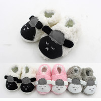 Wholesale Baby Home Shoes - Baby coral fleece warm indoor shoes cute infants cartoon animal pattern plush first walk shoes todderls autumn winter warm home shoes 0-1T
