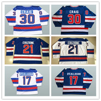 Wholesale Usa Olympics Ice Hockey - 1980 Jack O'Callahan Olympic USA MIRACLE Hockey Jersey #21 Mike Eruzione #30 Jim Craig #17 O'Callahan 1980 USA MIRACLE Hockey jerseys