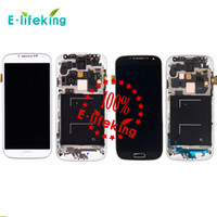 Wholesale I545 Screen - Excellent For Samsung Galaxy S4 9500 9505 I545 I337 M919 L720 Lcd Digitizer Displaiy Screen Assembly Blue or white with Frame Free Shipping