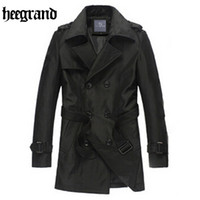 Wholesale HEE GRAND Spring Solid Slim Brief Man Trench Coats Fashion Long Double Breasted Male Office Leisure Overcoat MWF157