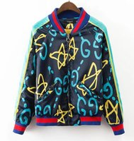 Wholesale Baseball Jacket Women Letter S - 2017 Fashion Women Bobmer Jacket Coat Graffiti Letter Print GD Couples Spring Jacket Coat Windbreaker Female Baseball jacket Basic Coats