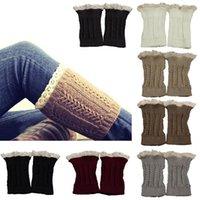neue spitzenmanschetten groihandel-Großhandels- Neue Art- und Weisewinter-Frauen-Mädchen Häkelarbeit-Knit-Spitze-Ordnung Bein-Wärmer-Manschetten-Spitze-Stiefel-Socken Y1 Q1